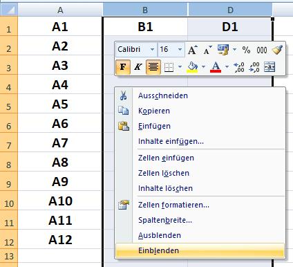 Excel-Zeilen-Spalten-Einblenden-Ausblenden