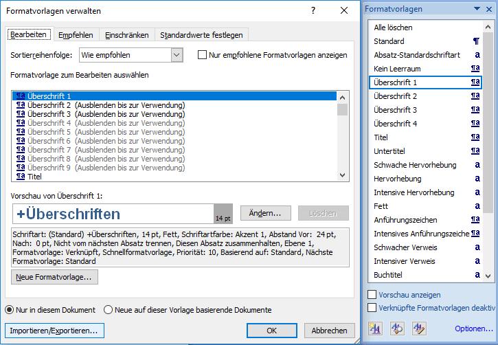 In Word einzelne Formatvorlagen importieren