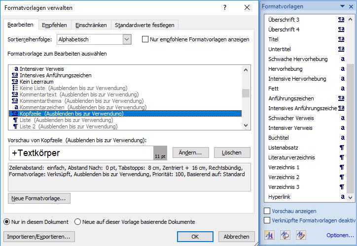 Formatvorlagen in Word verwalten