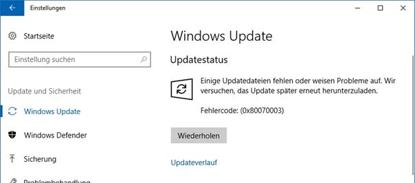 Windows-Update-Troubleshooting-Fehlercode