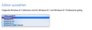 Windows Edition auswählen
