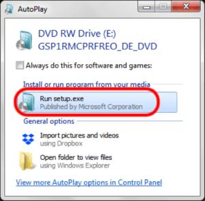 Windows 8 Betriebssystem einlegen