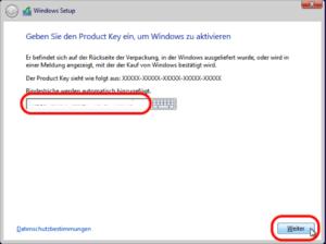 Windows 8 Product Key eingeben