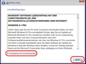 Windows 8 Lizenbedingungen akzeptieren