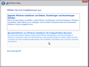 Windows 8 Installationsart