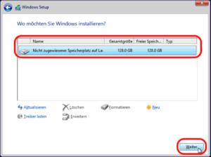 Windows 8 Partition wähleen
