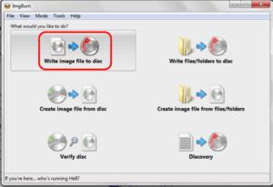 Write Image file to disk
