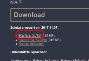 Windows 7 auf USB Stick Rufus Downlaod