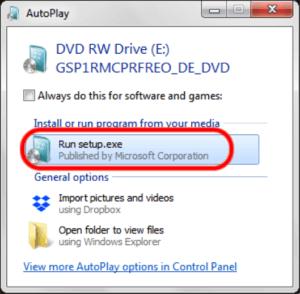 Windows 7 Betriebssystem einlegen