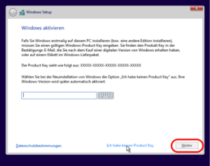 Windows 10 Product Key eingeben
