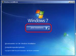 Windows 7 jetzt installieren