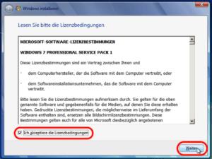 Windows 7 Lizenzbedingungen akzepiteren