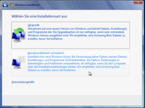Windows 7 Installationsart wählen