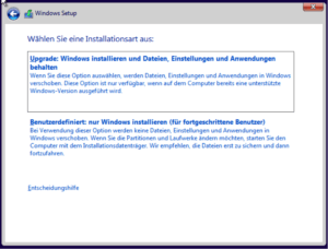Windows 10 Installationsart wählen