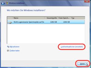 Windows 7 Installation Laufwerk auswählen