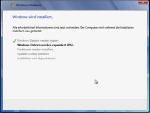 Windows 7 wird installiert